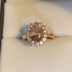 CZ blush pink and rose gold-toned ring